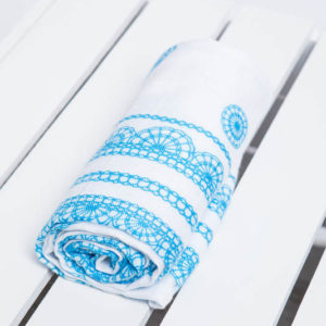 LennyLamb Swaddle Iced Lace Türkis & Weiss