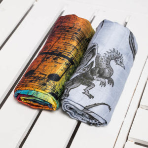 LennyLamb Swaddle Set Dragon & Symphony Rainbow Dark