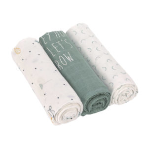 LÄSSIG Mulltücher (3 Stk) - Heavenly Soft Swaddle, Garden Explorer Girls
